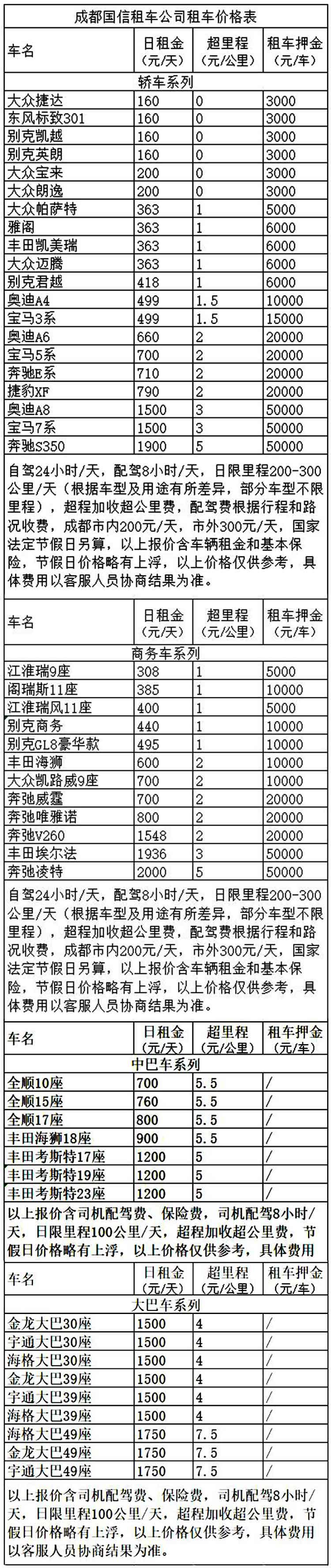 成都商务旅游租车价格表