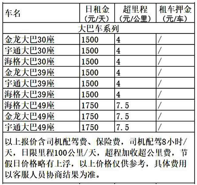 成都市大巴车租车价格表