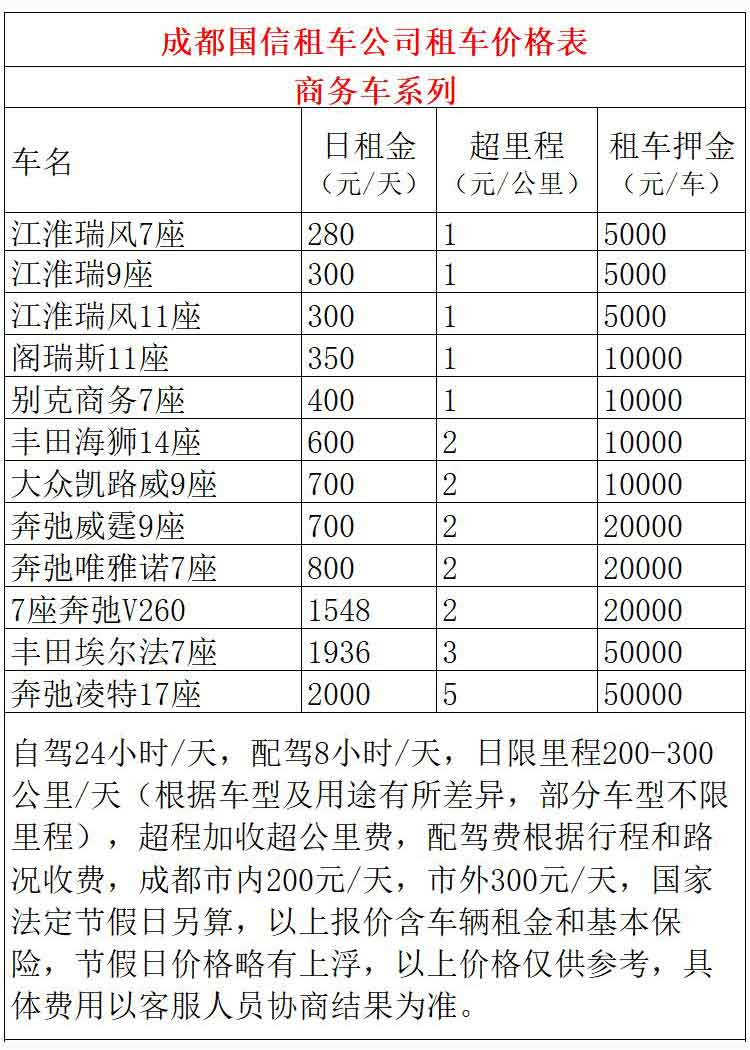 成都市商务车租赁价格表